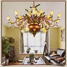 glass flowers chandeliers american vintage garden artistic suspension lighting restaurant villa art deco hanging lamp ceiling light shade lantern pendant