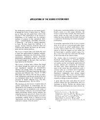 Garfield E Science Citation Index Science Citation Index 1961