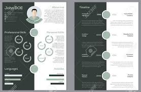 Modern 2 Sided Cv Resume Curriculum Vitae Design Royalty Free