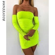 BOOFEENAA Neon Green Ruched Off Shoulder Long Sleeve ...