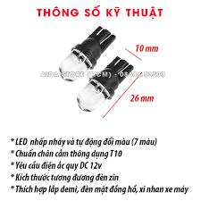 Bóng đèn LED T10 nhấp nháy 7 màu cho demi, xi nhan, mặt đồng hồ xe máy -  Giá Sốc 24h