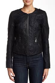 bnci by blanc noircollarless sweater bonded faux leather jacket