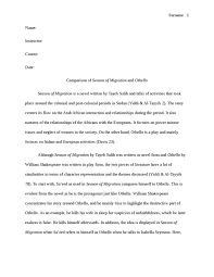 comparsion of season of migration and othello literature essay  comparsion of season of migration and othello essay example