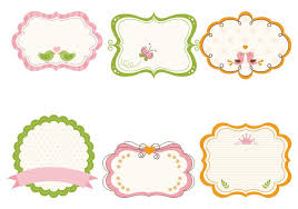 frame. Cute Girly Frame Vector And Label Pack
