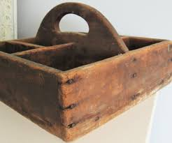 wonderful antique wood handled tool caddy divided carrier warm wood with a beautiful patina worn just the right amount