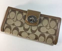 Image is loading Coach-Signature-Khaki-Brown-Turnlock-Large-Wallet