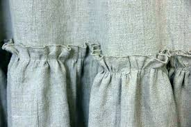 linen ruffle shower curtain grey burlap vintage