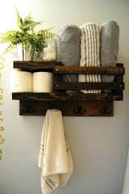 towel storage bathroom shelves bath shelf wood rack rod hanger small space
