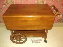 vintage tea cart casters wooden antique walnut wood toy heirloom nutmeg maple drop leaf serving wagon vintage tea cart