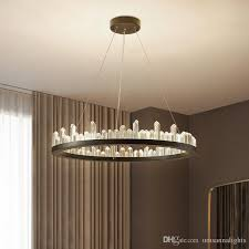 modern crystal chandeliers american round chandelier lights fixture led dimmable lamps dining living room indoor lighting 3 years warranty rope chandelier