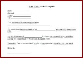 Resign Letter Format In Word Template For Resignation Letters Notice Resignation Template Two