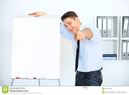 What Is Flip Chart Presentation Young Businessman With A Flip Chart On Presentation Stock