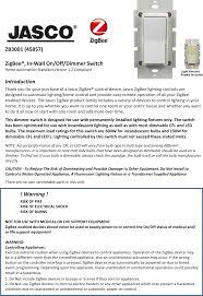 Jasco Lighting Zb3001 Wireless Relay User Manual 45857 Word Draft Sheenway