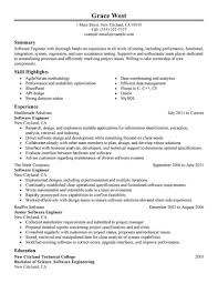 Resume Format For Software Engineer It Resume Cover Letter Sample