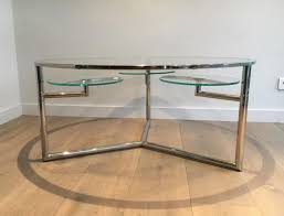 chrome coffee table with removable round glass shelves 1970s 1