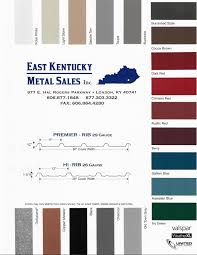 Metal Sales Color Chart Color Chart Eastern Kentucky Metal Sales Inc