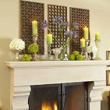 Decorating Ideas > Purple And Green Bunched Flowers, Scattered Candles ~  114630_Fireplace Mantel Decorating Ideas Candles