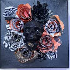 This year i've been a little bit of a slacker so far as far as decorating goes, but last year…i had some fun! Listing Is For A Handmade Halloween Decoration Halloween Paper Flowers Canvas Hallow Handmade Halloween Decorations Halloween Paper Halloween Cards Handmade