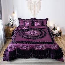 details about tache fancy ruffles purple midnight bloom quilt comforter bedding set 6 piece