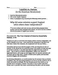 american revolution loyalist vs patriot documents organizer american revolution loyalist vs patriot documents organizer and essay topic