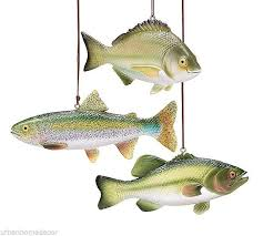 NEW Set of 3 Resin Fish Shaped Christmas Tree Ornaments by burton & BURTON  #burtonBURTON