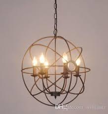 vintage industry lighting pendant lamp foucault s iron orb chandelier rustic iron loft light gyro american country style diameter 50cm 65cm lantern pendant