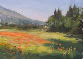 daily painting titled morning poppy field