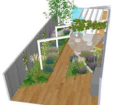 contemporary outdoor seating area small garden 3d cad render contemporary