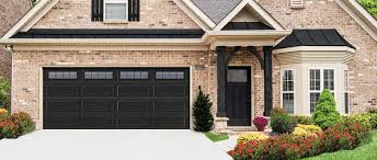 painted garage doors and accents black cream trim simple shutters