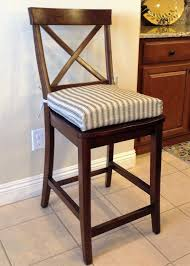 rustic french ticking fabric kitchen chair cushion barstool counter stool seat pad natural denton with black stripe washable