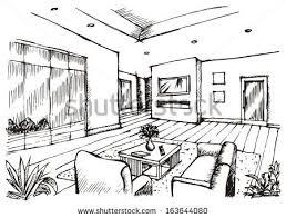 interior design drawings. Hand Drawing Interior Design For Living Room, Raster Image Drawings