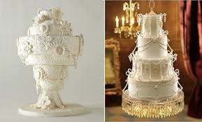 upside down chandelier wedding cake