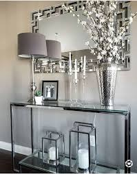 glass console mirrored finishes entry styling decorative lanterns home decor transitional design