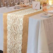 30 108cm lace jute table runners linen hessian burlap blanket home decor wedding party decoration banquet kitchen accessories table linens