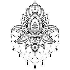 Plakát Henna Tetování Květina Vzor V Indickém Stylu Etnické Květinové