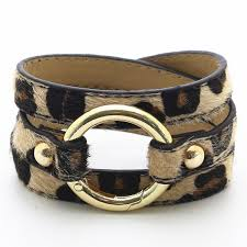 leopard big round circle multilayer handmade leather bracelets women fashion girl bangle female jewelry new design