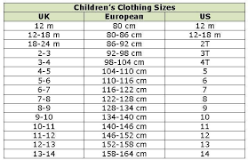 Kids Size Chart European Clothing Sizes Europe Clothing