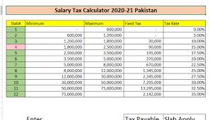 salary tax calculator stan 2020