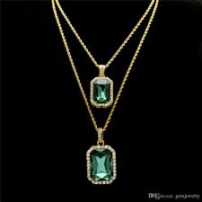 whole men fashion hip hop necklace jewelry set gold plated bling rhinestone square green gem crystal pendant necklace set star pendant necklace gl