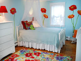 light blue bedroom with red poppies and white furniture on red and light blue wall art with whimsical kid s bedroom with poppy wall art hgtv