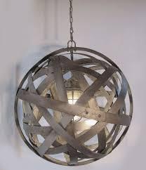 orbits urban chandelier recycled wine barrel metal hoops galvanized steel bands ceiling light fixture