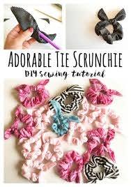 sew a cute tie scrunchie diy sewing