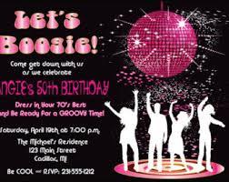 Dance Invitation Ideas Womens Birthday Party Invitation Disco Dancing Queen 70 Etsy