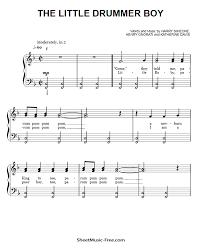 Lead time before shipment : The Little Drummer Boy Easy Piano Sheet Music Sheetmusic Free Com