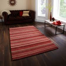 the BIG rug store Oxford Stripes Red/Beige Rug - In mainly red-beige tones,  this is the beautiful Oxford stripey hand knotted rug.