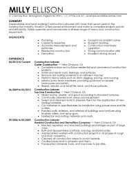 construction work resume template