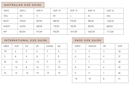 Australian Size Chart Measurements 34 Symbolic Australian Dress Size Chart