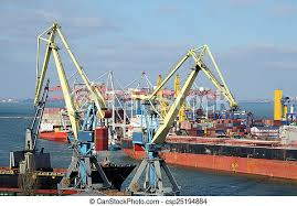 Nave, porto mare, contenitore, odessa, giallo, gru. Ucraino, port ...