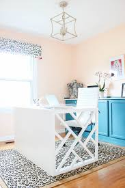 office room diy decoration blue. Home Office Makeover With Budget-Friendly DIY Projects: Chippendale Desk, Peach Walls Room Diy Decoration Blue L