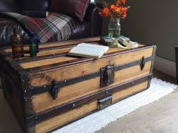 vintage steamer trunk banded travel chest coffee table blanket box with glass top to wood uk